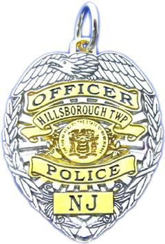 Custom police and fire fine jewelry 2d badge pendants custom 2d two tone sterling silver or 14k white gold mini badge pendant in design aloadofball Gallery